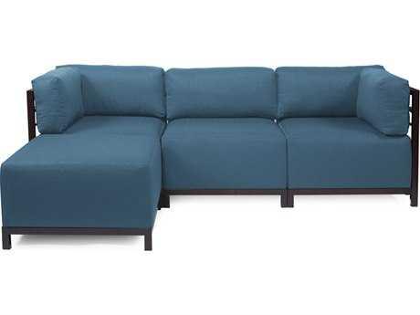 Howard Elliott Seascape Mahogany Turquoise Axis Four-Piece Sectional Sofa