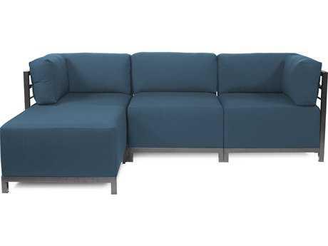 Howard Elliott Seascape Titanium Turquoise Axis Four-Piece Sectional Sofa