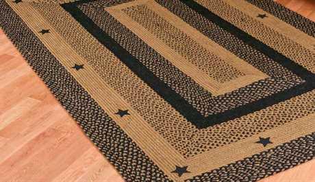 IHF Rugs Star Rectangular Black Area Rug