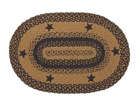 IHF Rugs Star Oval Black Area Rug