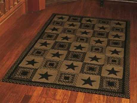 IHF Rugs Country Star Rectangular Black Area Rug