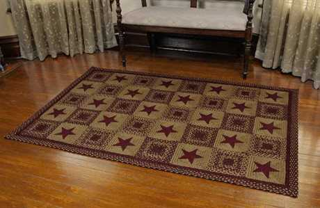 IHF Rugs Country Star Rectangular Wine Area Rug