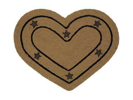 IHF Rugs Burlap Star Heart  Beige Area Rug