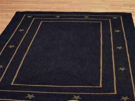 IHF Rugs Burlap Star Rectangular Black Area Rug