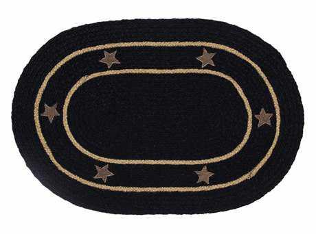IHF Rugs Burlap Star Oval Black Area Rug