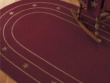 IHF Rugs Burlap Star Oval Purple Area Rug