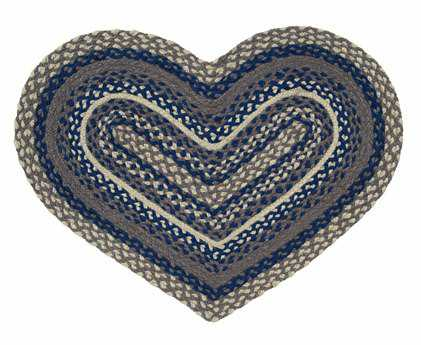 IHF Rugs Pewter Heart Blue Area Rug