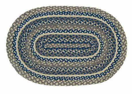 IHF Rugs Pewter Oval Blue Area Rug