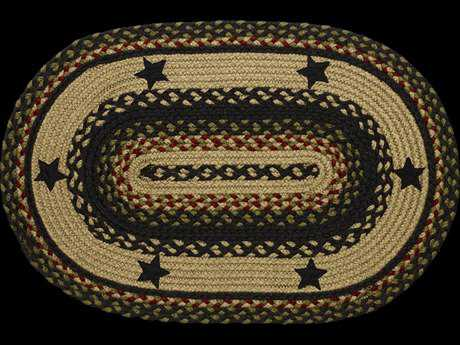IHF Rugs Tartan Star Oval Beige Red & Blue Area Rug
