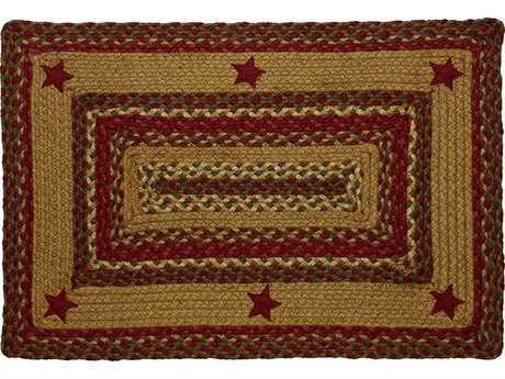 IHF Rugs Cinnamon Star Rectangular Red Green & Beige Area Rug