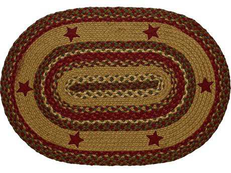 IHF Rugs Cinnamon Star Oval Red Green & Beige Area Rug