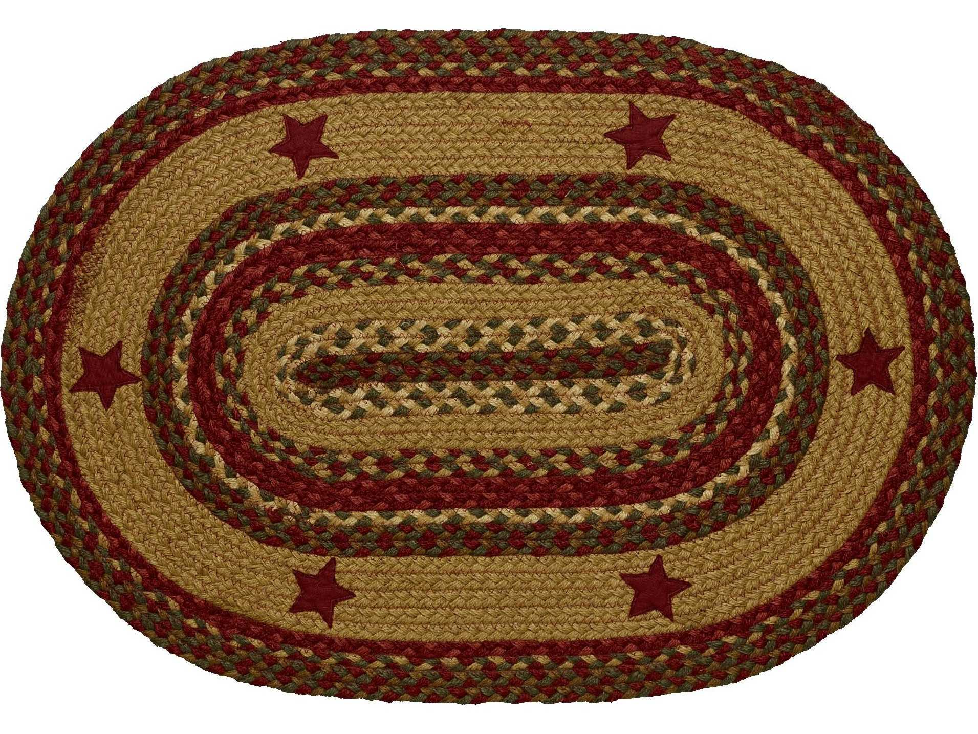 Ihf Rugs Cinnamon Star Oval Red Green Amp Beige Area Rug