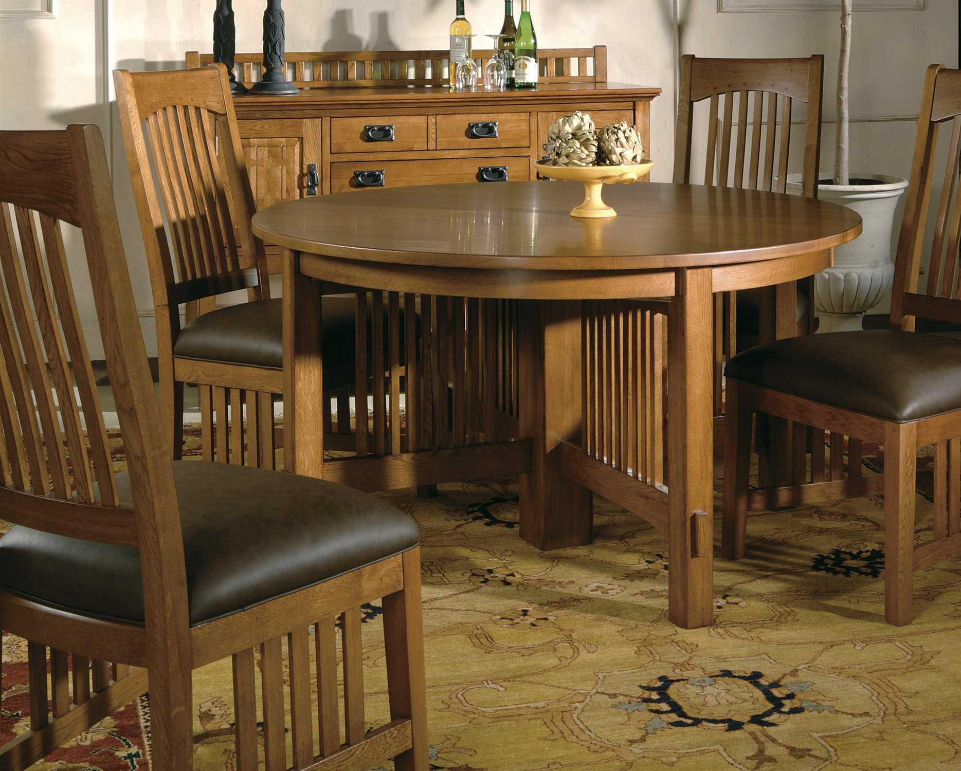 Hekman arts crafts 5 piece dining room set hk35624 for Arts and crafts dining room set
