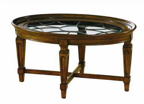 Hekman Accents 40 x 28 Oval Metal Grille Coffee Table