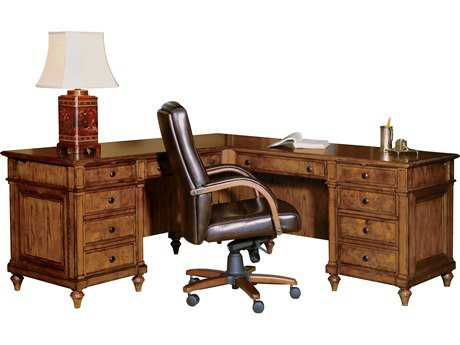 Hekman Office 72 L-Shaped Office Desk in Urban Ash Burl