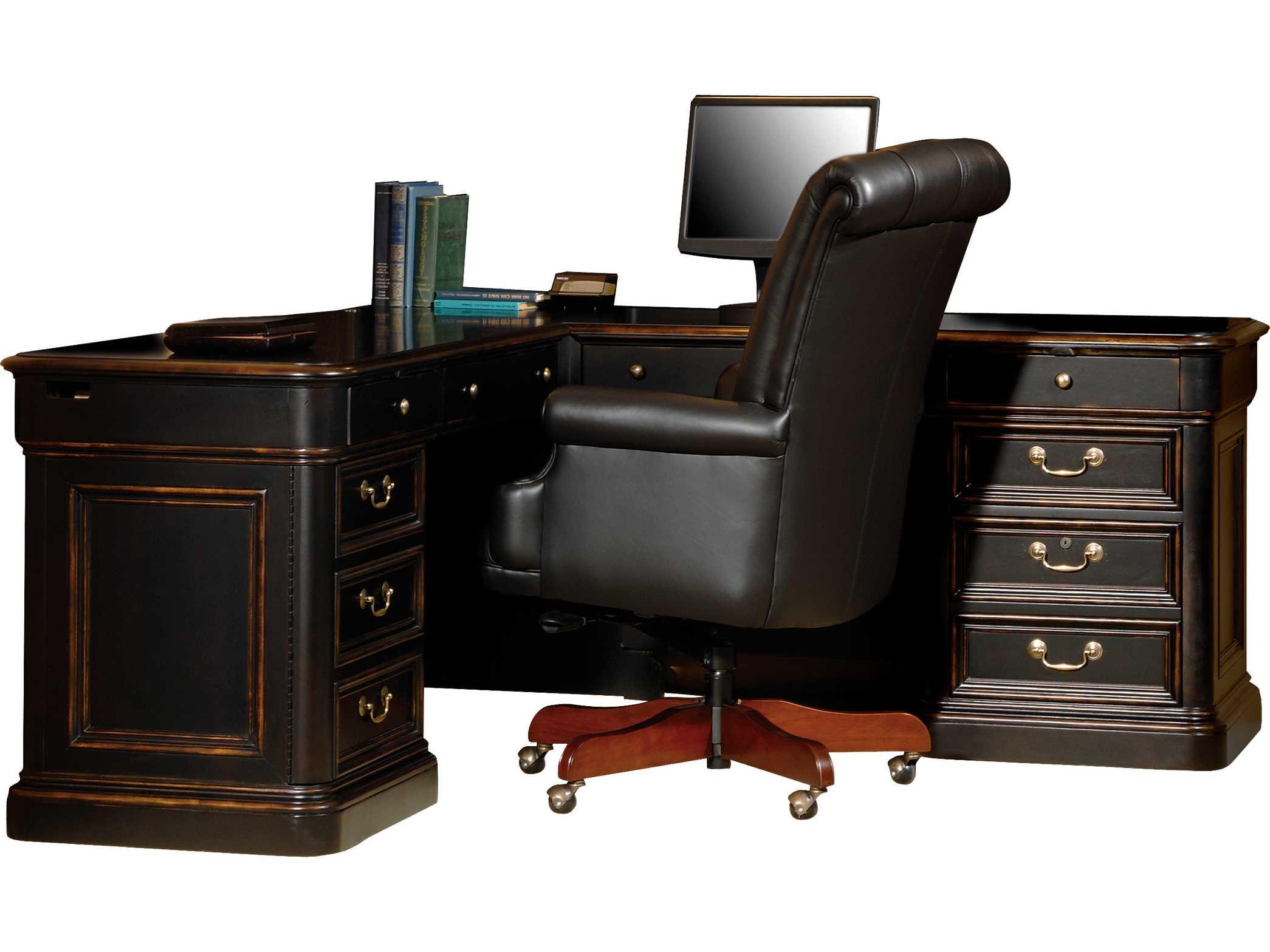 hekman office 72 l shaped desk in louis phillipe hk79147