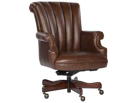 Hekman Office Executive Ribbed Back Leather Chair in Coffee