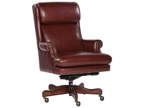 Hekman Office Executive Leather Chair with Brass Nailhead Trim in Merlot