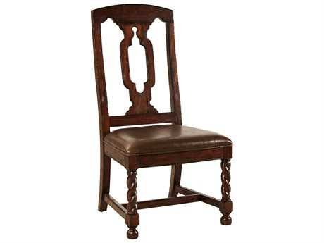 Hekman Havana Tall Back Leather Seat Side Dining Chair