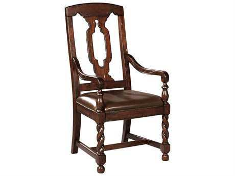 Hekman Havana Tall Back Leather Seat Dining Arm Chair