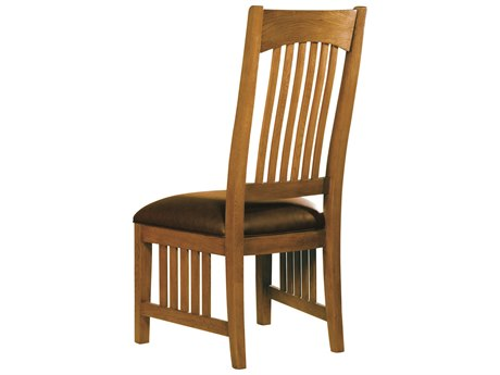 Hekman Arts & Crafts Wood Side Chair with Leather Seat