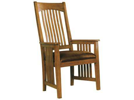 Hekman Arts & Crafts Wood Arm Chair with Leather Seat