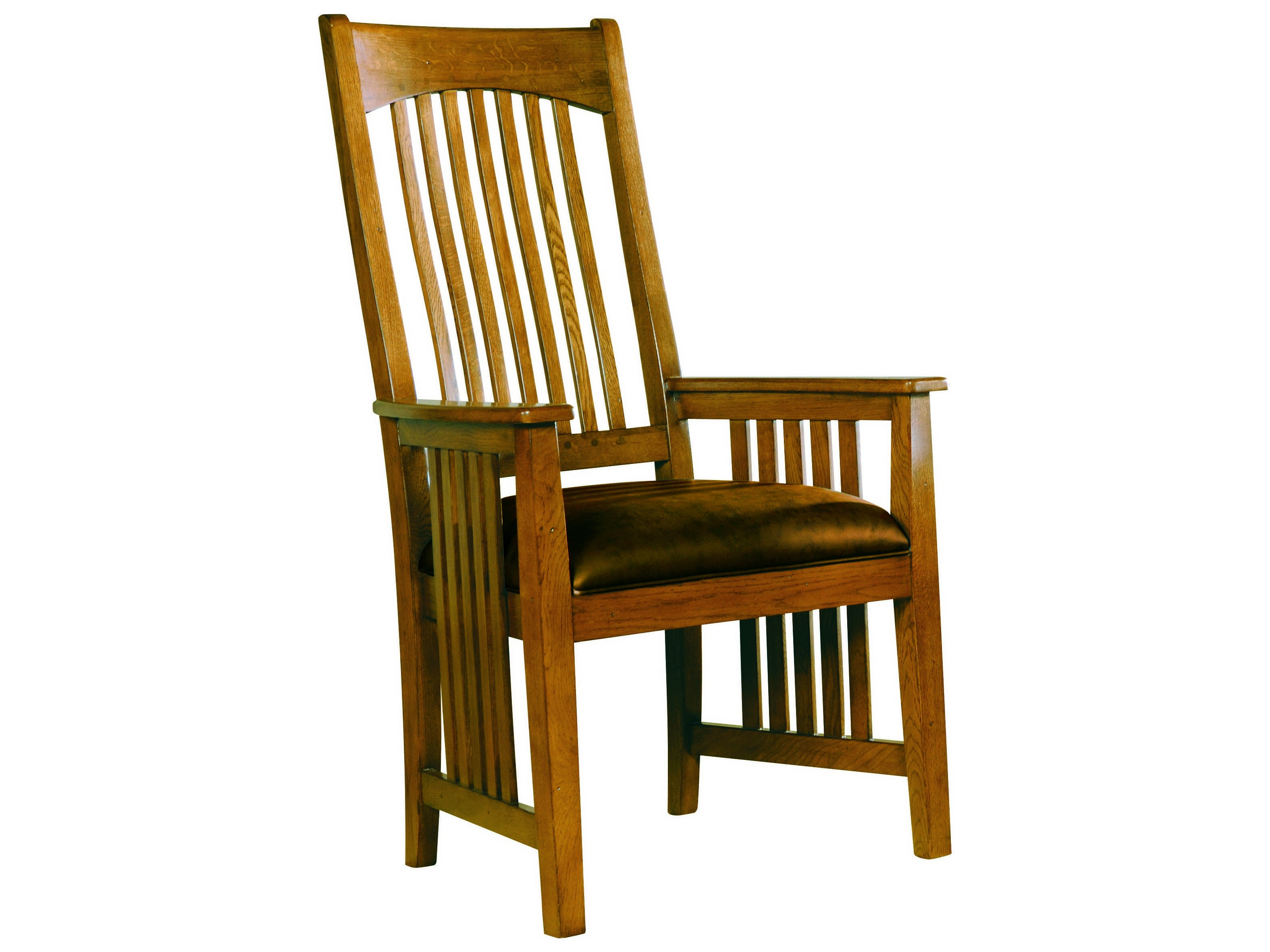Hekman arts crafts wood arm chair with leather seat for Wood dining arm chairs