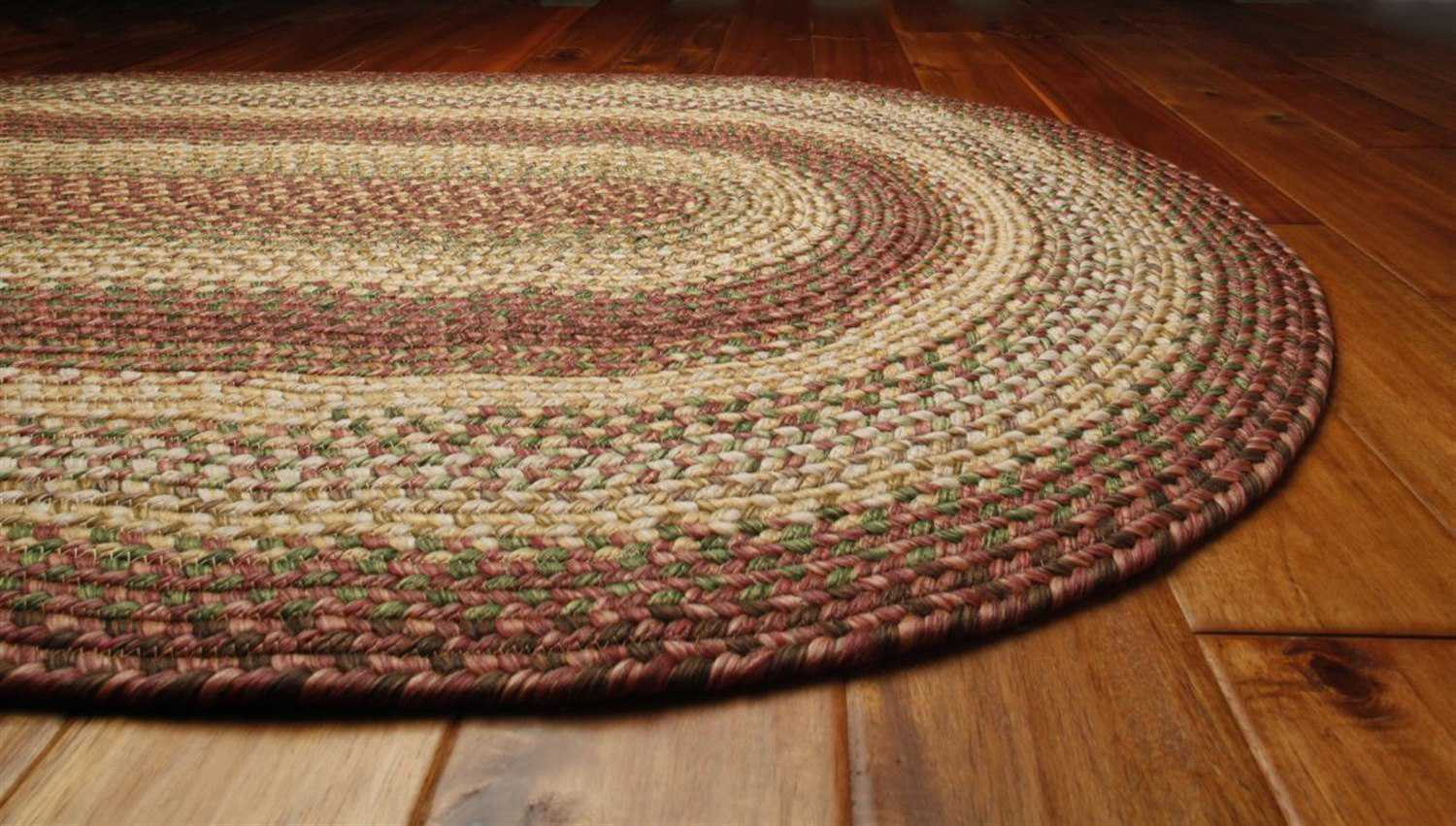 Homespice decor ultra durable braided oval red area rug for Braided rugs