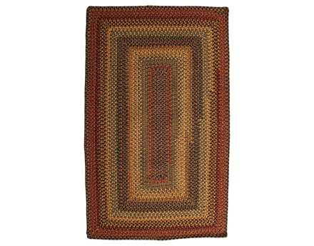 Homespice Decor Wool Braid Rectangular Brown Area Rug
