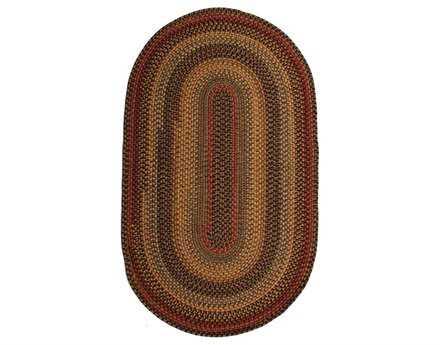 Homespice Decor Wool Braid Oval Brown Area Rug
