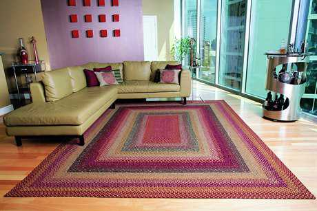 Homespice Decor Cotton Braided Rectangular Red Area Rug
