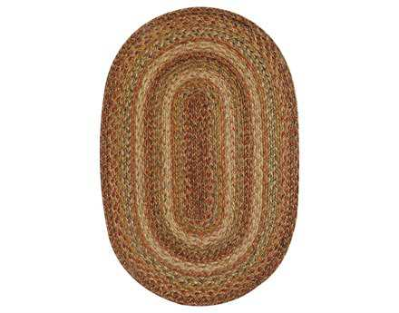 Homespice Decor Jute Braided Harvest Oval Red Area Rug