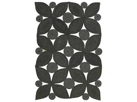 Homespice Decor Botanica Meadow Black Rectangular Area Rug