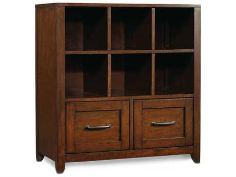 Hooker Furniture Wendover Distressed Cherry Utility Bookcase Pedestal