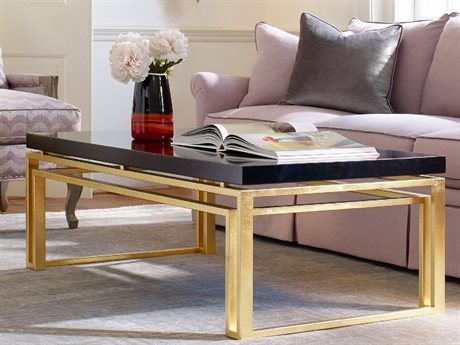Hooker Furniture Cynthia Rowley Black and Gold leaf 54''L x 28''W Rectanglar Serendipity Cocktail Table