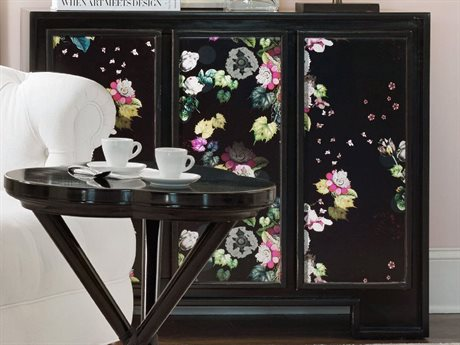 Hooker Furniture Cynthia Rowley Black with Floral Print 42''L x 19''W Fleur de Glee Console Table
