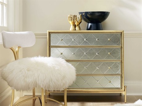 Hooker Furniture Cynthia Rowley Gold with Silver Painted Glass Halequin Four-Drawer Accent Chest