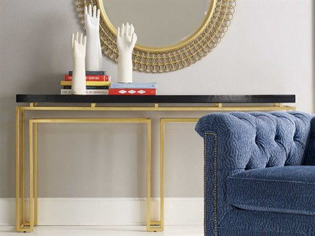 Hooker Furniture Cynthia Rowley Black with Gold Leaf 70''L x 14''W Rectangular Serendipity Console Table