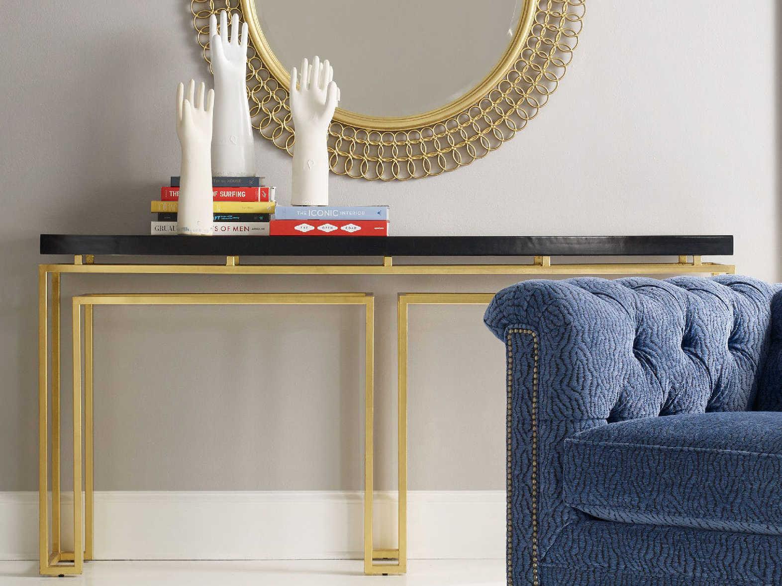 Hooker Furniture Cynthia Rowley Black With Gold Leaf 70u0027u0027L X 14u0027u0027 ...
