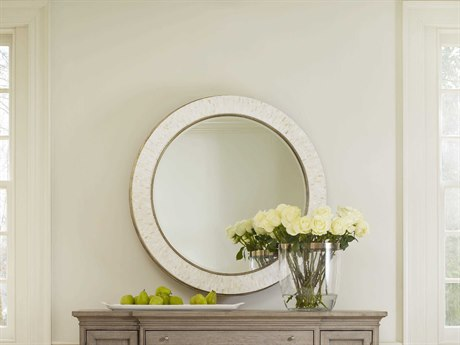Hooker Furniture Cynthia Rowley Mother of Pearl with Champagne 42''Wide Round Aura Shell Accent Mirror Wall Mirror