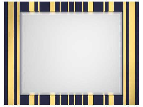 Hooker Furniture Cynthia Rowley Blue and Gold Leaf 52''L x 40''H Parker Striped Landscape Mirror