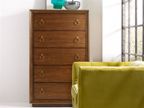 Hooker Furniture Cynthia Rowley Brown Primavera 38''W x 19''D Roman Five-Drawer Chest of Drawers