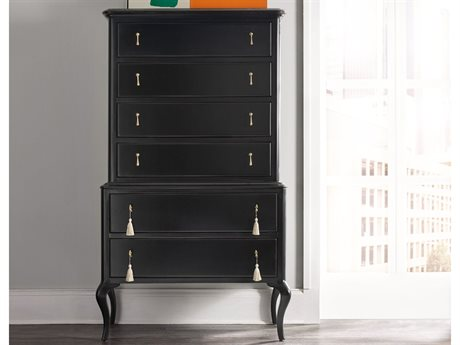 Hooker Furniture Cynthia Rowley Black 38''W x 19''D Twin Peak Six-Drawer Chest of Drawers