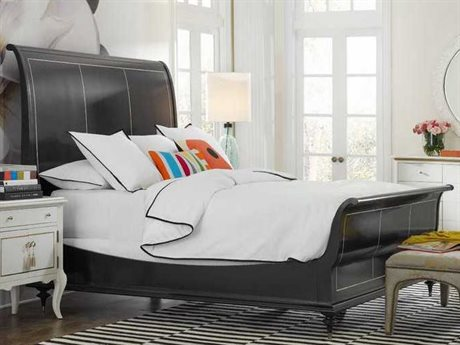 Hooker Furniture Cynthia Rowley Black with Mother of Pearl Inlay Twin Peak King Sleigh Bed