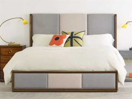 Hooker Furniture Cynthia Rowley Brown Primavera with Gold plated metal Swell King Shelter Upholstered Platform Bed