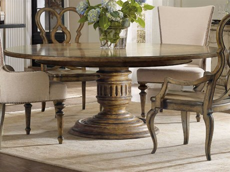 Hooker Furniture Auberose Warm Brown 72'' Wide Round Pedestal Dining Table