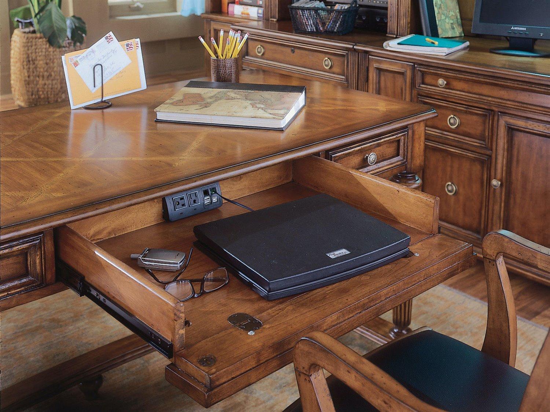 ... Hooker Furniture Brookhaven Distressed Medium Cherry 60u0027u0027L X 30u0027u0027W  Rectangular ...