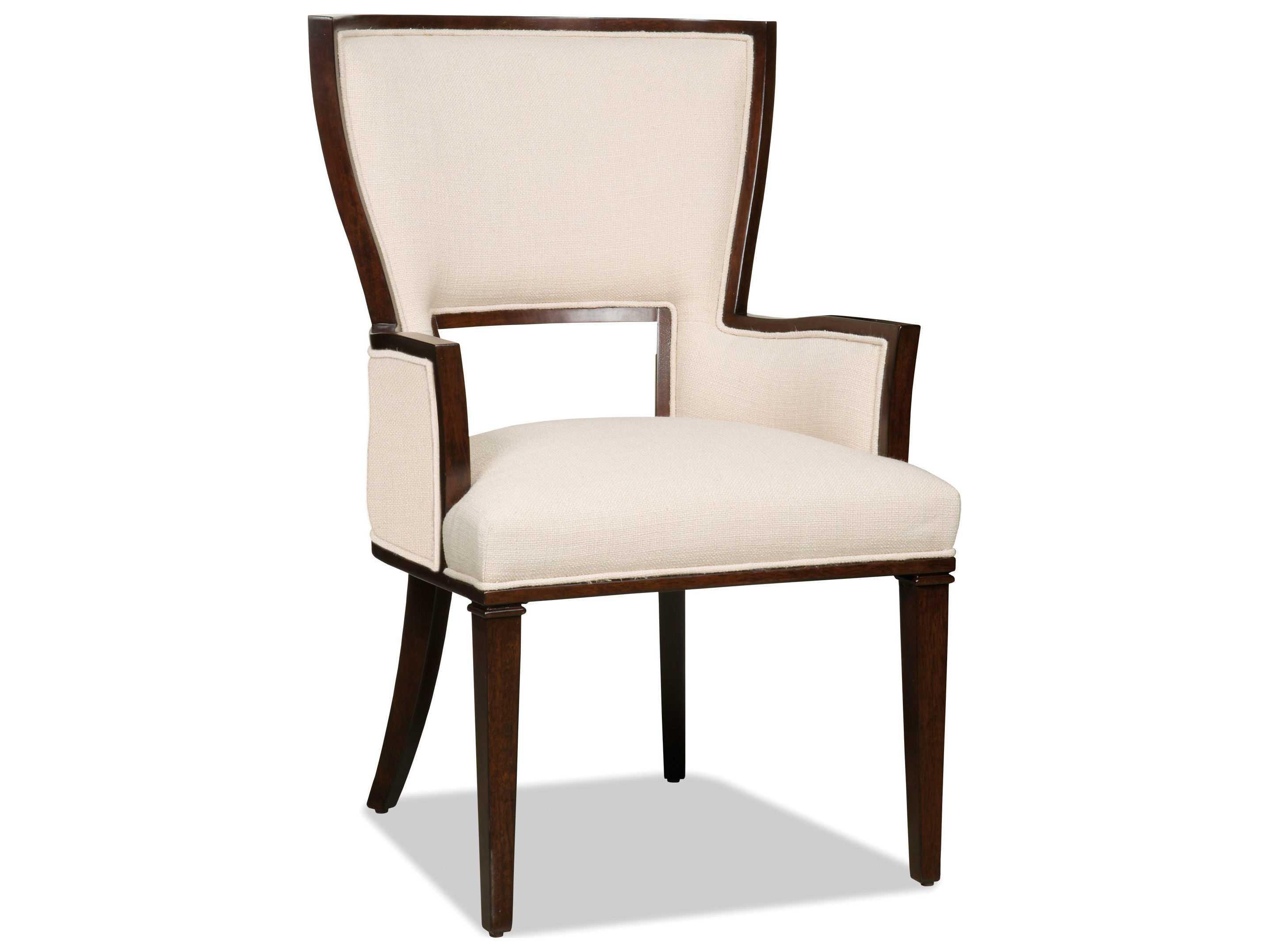 Hooker furniture lindy natural dark wood dining arm chair for Wood dining arm chairs