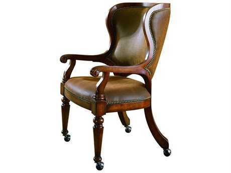 Hooker Furniture Waverly Place Distressed Antique Cherry Tall Back Castereted Game Dining Arm Chair (OPEN BOX)
