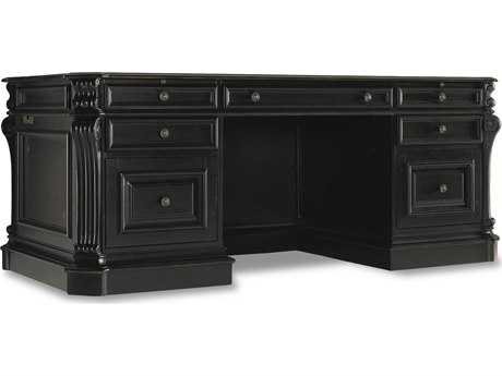 Hooker Furniture Telluride Black with Reddish Brown 76.5''L x 36''W Rectangular Executive Desk with Leather Panel